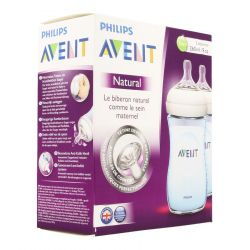 Avent Natural biberon bleu duo 1 mois+ 2x260ml