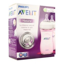 Avent Natural biberon rose duo 1 mois+ 2x260ml