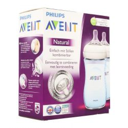 Avent Natural Zuigfles Blauw Duo +1M 2x260ml