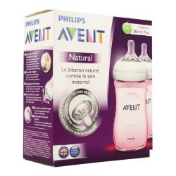 Avent Natural Zuigfles Roze Duo +1M 2x260ml
