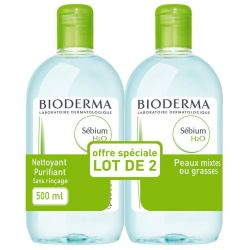 Bioderma Sébium H2O speciale aanbieding Micellaire oplossing 2x500ml