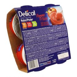 Delical Nutra'Pote Dessert aux Fruits Pomme-Fraise Compote 4x125g