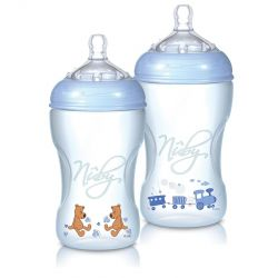 Nuby Natural touch Zuigfles + speen 3m+ blauw 330ml