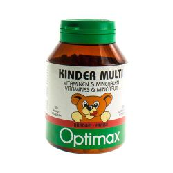 Optimax Kinder Multi vitaminen en mineralen aardbei Kauwtabletten 100 stuks