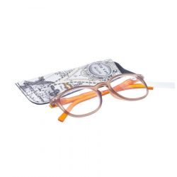 Pharmaglas Bruin oranje ronde leesbril +4,00 1 stuks