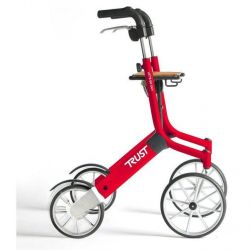 TrustCare 4 wiel Rollator Let's go out rood 1 stuks