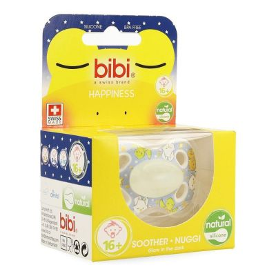 Bibi Fopspeen Happiness 4 friends Glow in the dark Natural 6-16m 1 stuks