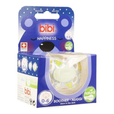 Bibi Happiness dental Glow in the dark sucette 0-6 1 pièces