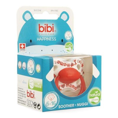 Bibi Happiness Natural I love mama / papa is the best sucette 6-16 1 pièces
