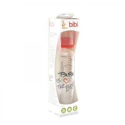 Bibi Zuigfles Happiness I love mama/Papa is the best Natural glas 240ml