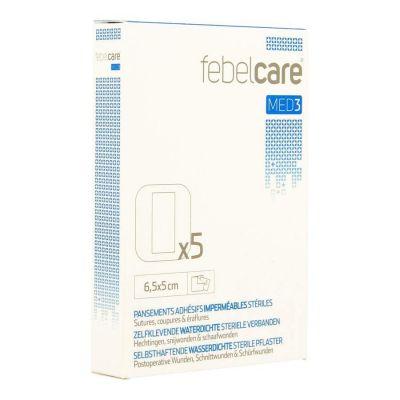 Febelcare Med3 selbstklebende, wasserdichte, sterile Verbände 6,5x5,0cm 5 Stück