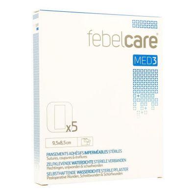 Febelcare Med3 selbstklebende, wasserdichte, sterile Verbände 9,5x8,5cm 5 Stück