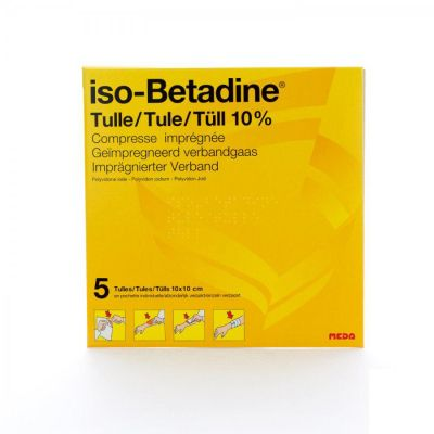 iso-Betadine® tulle 10cmx10cm Tulle gras 5 pièces