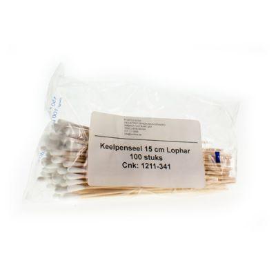Keelpenseel hout 15cm Wattenstaafje 100 stuks