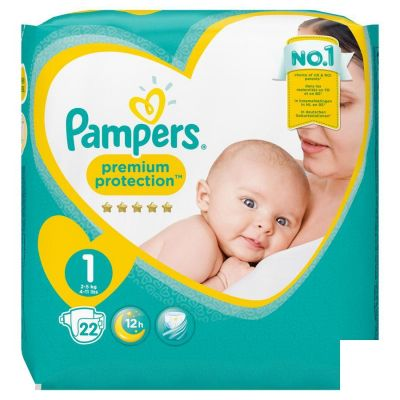 PAMPERS PREMIUM PROTECT CARRY S1 22 pièces