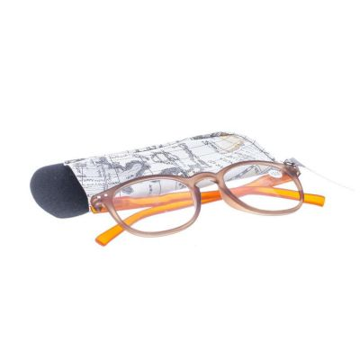 Pharmaglas Bruin oranje ronde leesbril +2,00 1 stuks