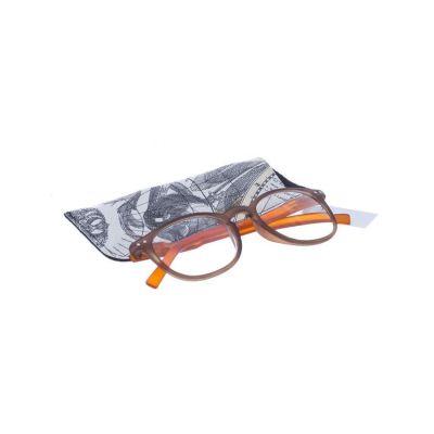 Pharmaglas Bruin oranje ronde leesbril +3,00 1 stuks