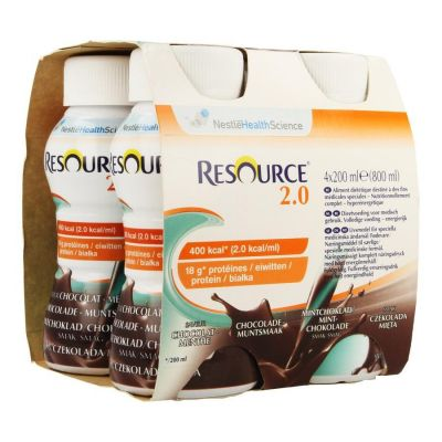 Resource 2.0 Chocolade-Munt Drankje 4 X 200ml