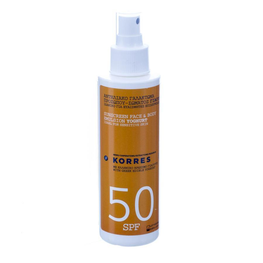 Image of Korres Yoghurt SPF50 Zonnebrandcrème gezicht & lichaam