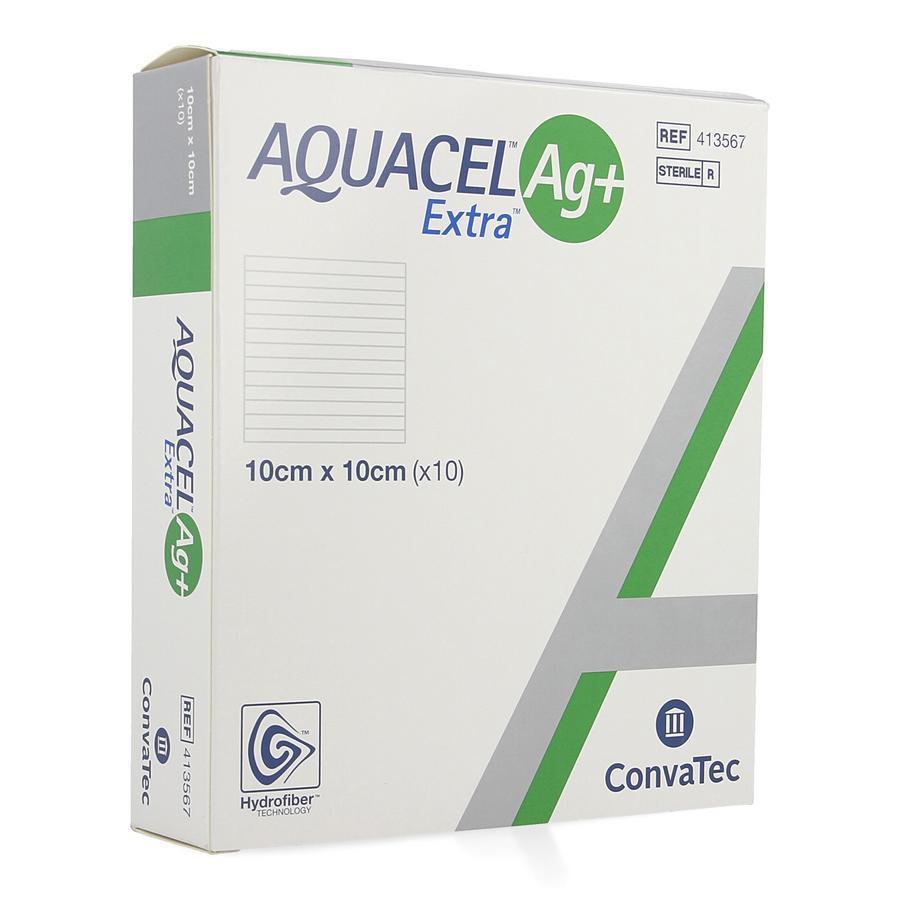 Image of Aquacel Ag+ Extra hydrofiber 10x10cm