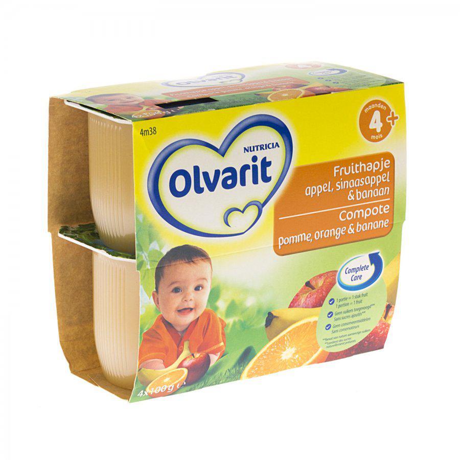 Olvarit Fruithapje Appel Banaan Sinaasappel 4+ Maanden 4x100g