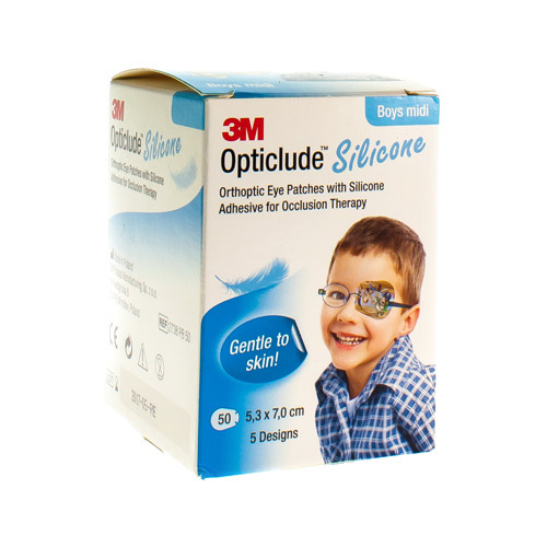 Opticlude 3m Silicone Eye Patch Boy Midi 50 Stuks