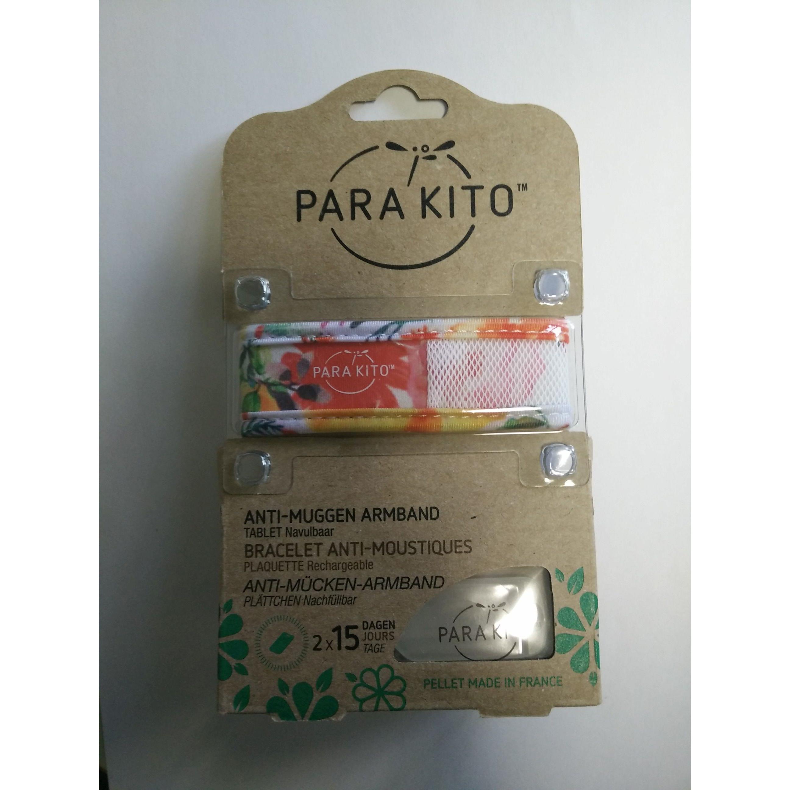 Parakito Anti-Muggen Armband Graffic Groot Model wit-bloemen