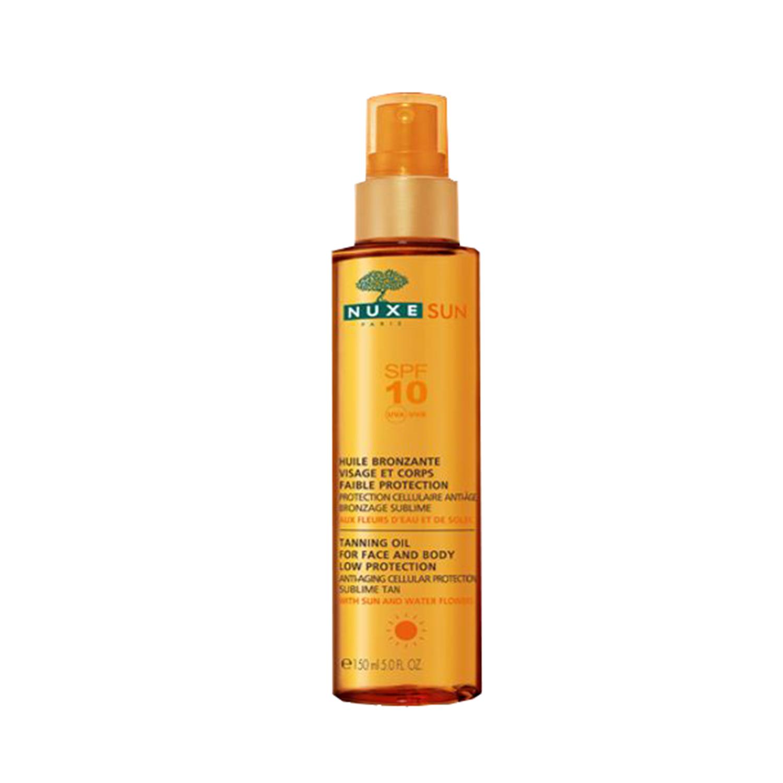 Nuxe Sun Zelfbruinende Olie Gelaat en Lichaam SPF 10 Pompfles 150ml