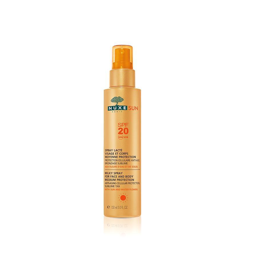 Nuxe Sun Spraymilk Gelaat en Lichaam Gemiddelde Bescherming SPF20 Pompfles 150ml